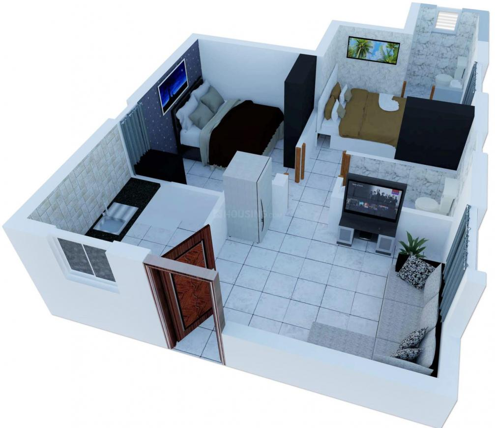 MP Gloria Floor Plan: 2 BHK Unit with Built up area of 516 sq.ft 1