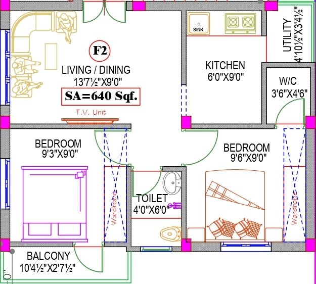 Shri Win Flats Floor Plan: 2 BHK Unit with Built up area of 640 sq.ft 1