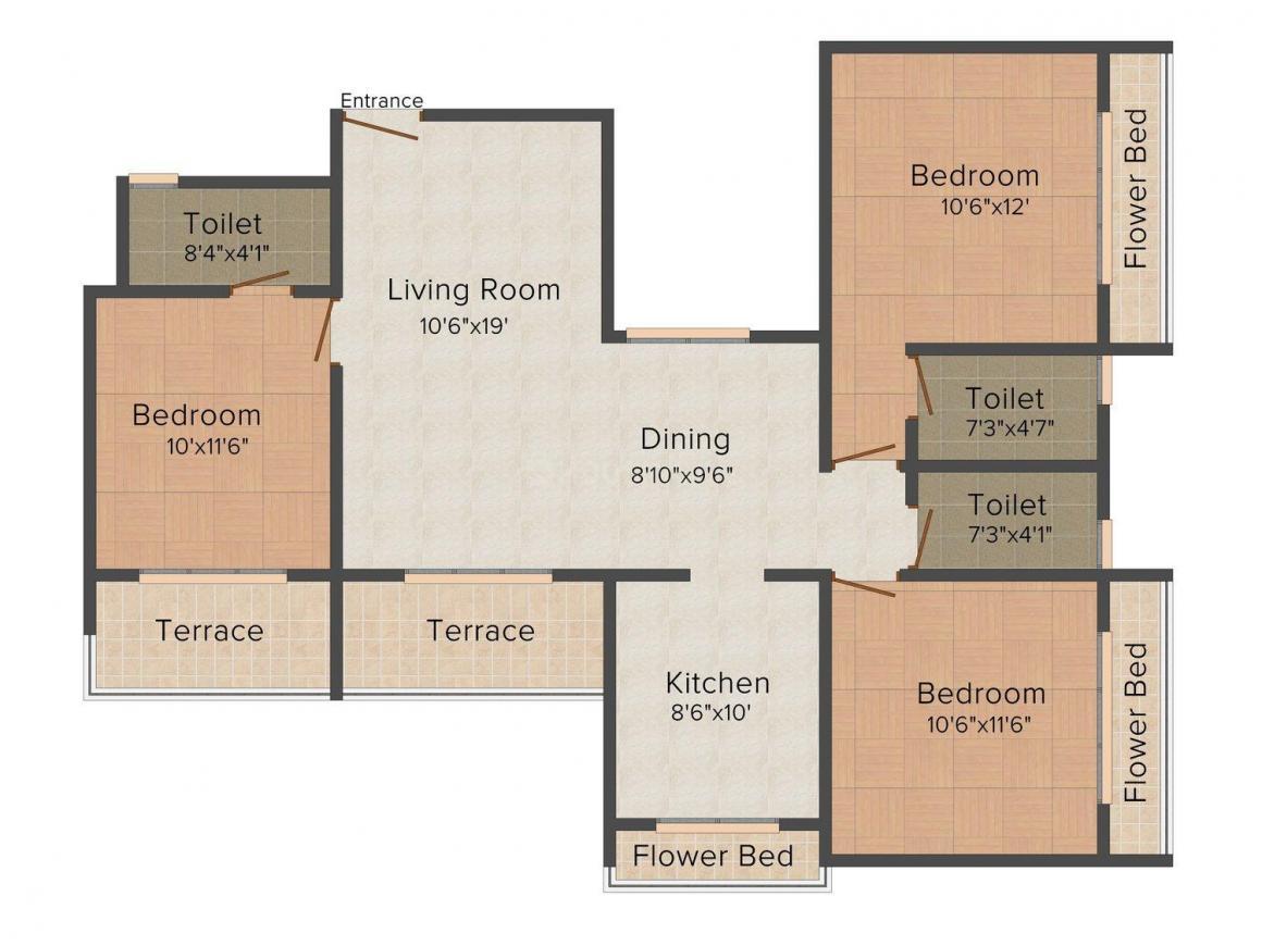 Floor Plan Image of 531.09 - 1750.0 Sq.ft 2 BHK Apartment for buy in Sahil Siddhivinayak Splendour