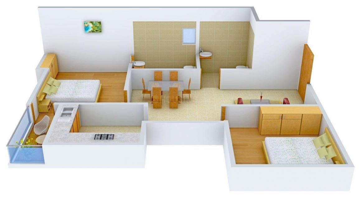 Floor Plan Image of 1135.0 - 1370.0 Sq.ft 2 BHK Apartment for buy in Krishna Govindam Apartment
