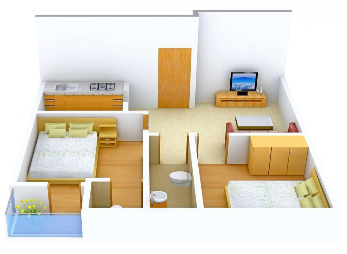 Floor Plan Image of 735.0 - 805.0 Sq.ft 2 BHK Apartment for buy in Sai Dham