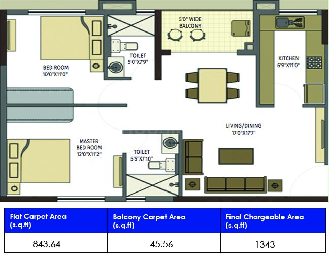 Ozone Floor Plan: 3 BHK Unit with Built up area of 844 sq.ft 1