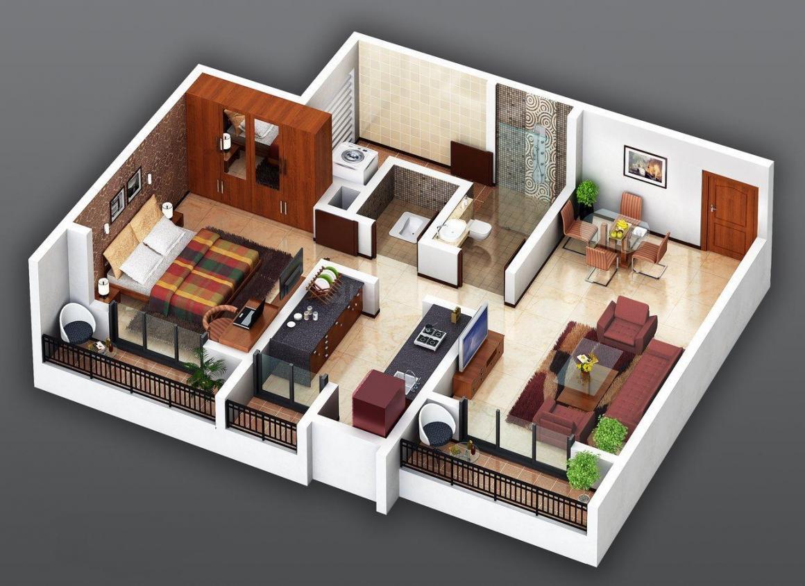 Kanak Mukta Lake City Floor Plan: 1 BHK Unit with Built up area of 670 sq.ft 1