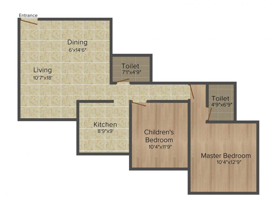 Floor Plan Image of 934 - 1177 Sq.ft 2 BHK Apartment for buy in Mahavir Universe – Phase I