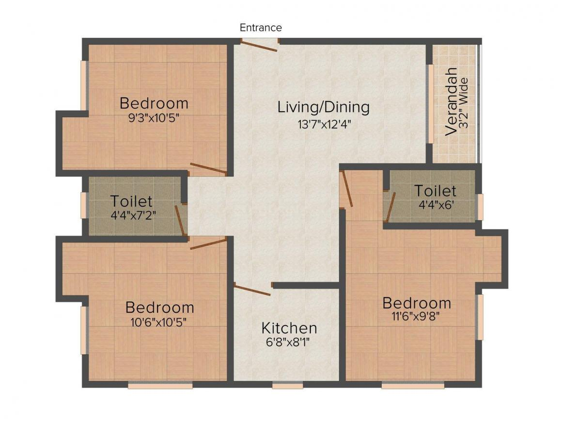 Floor Plan Image of 1169.0 - 1172.0 Sq.ft 3 BHK Apartment for buy in Shyam Kunj