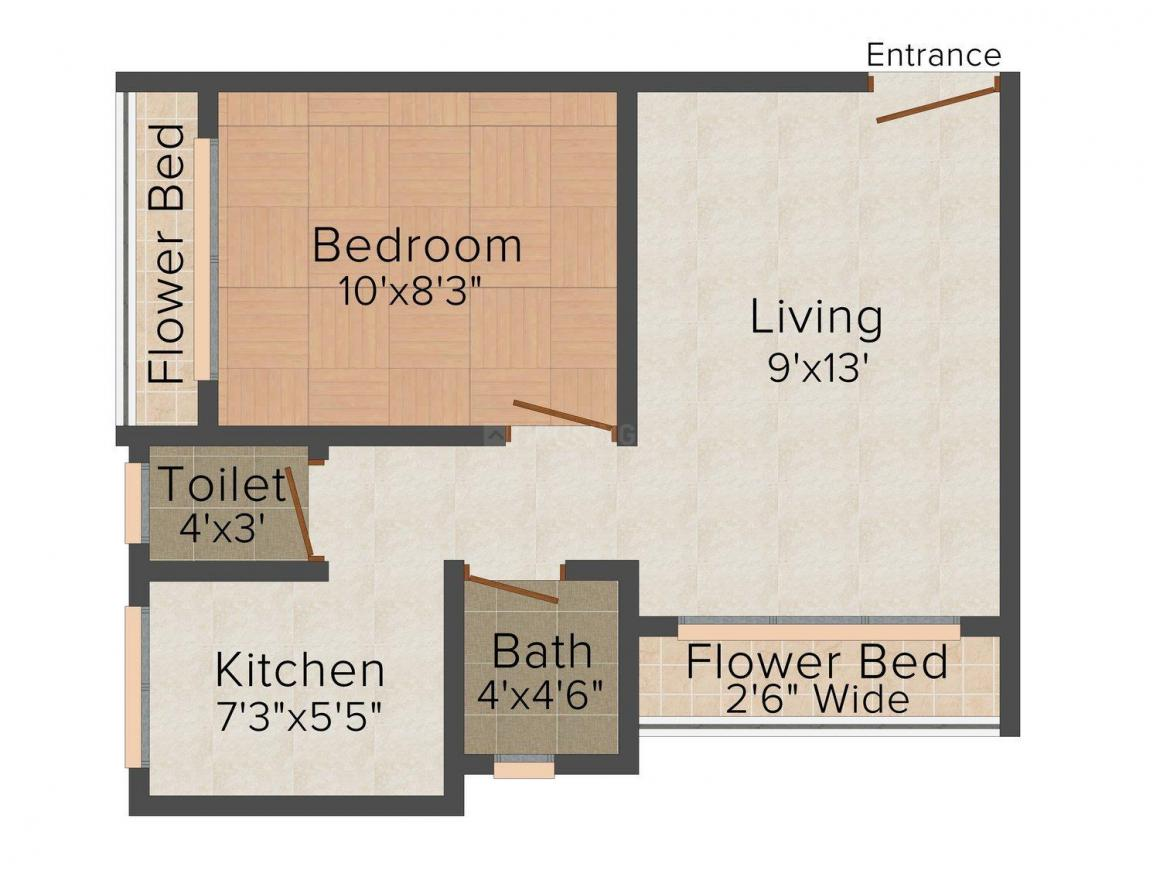 Floor Plan Image of 0 - 518.0 Sq.ft 1 BHK Apartment for buy in Tirupati Balaji Kunj