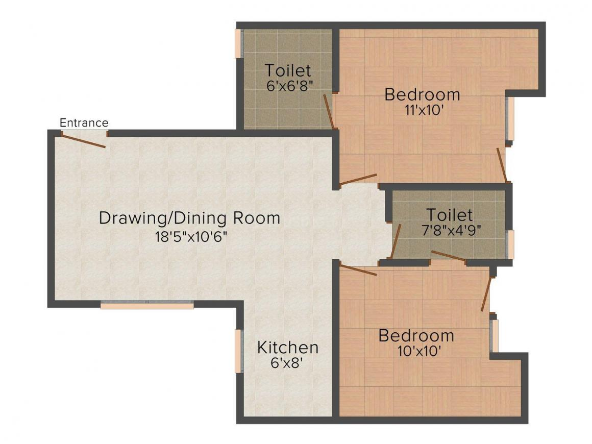 Bainsla Homes-2 Floor Plan: 2 BHK Unit with Built up area of 1000 sq.ft 1
