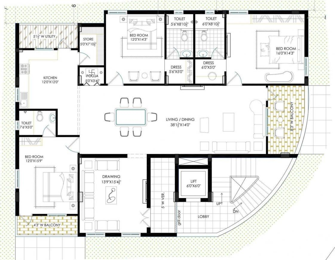 Lahari Jubilee Hills Floor Plan: 3 BHK Unit with Built up area of 2860 sq.ft 1