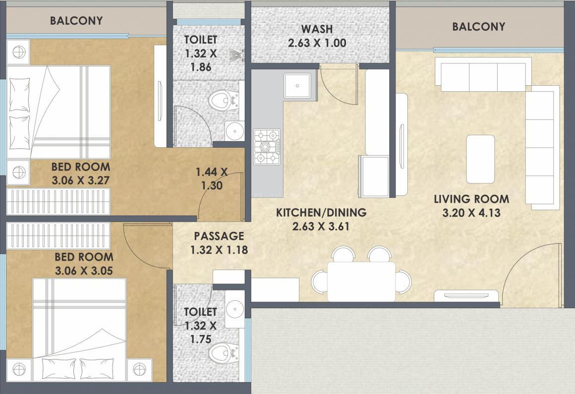 Aditya Aspire Floor Plan: 2 BHK Unit with Built up area of 564 sq.ft 1