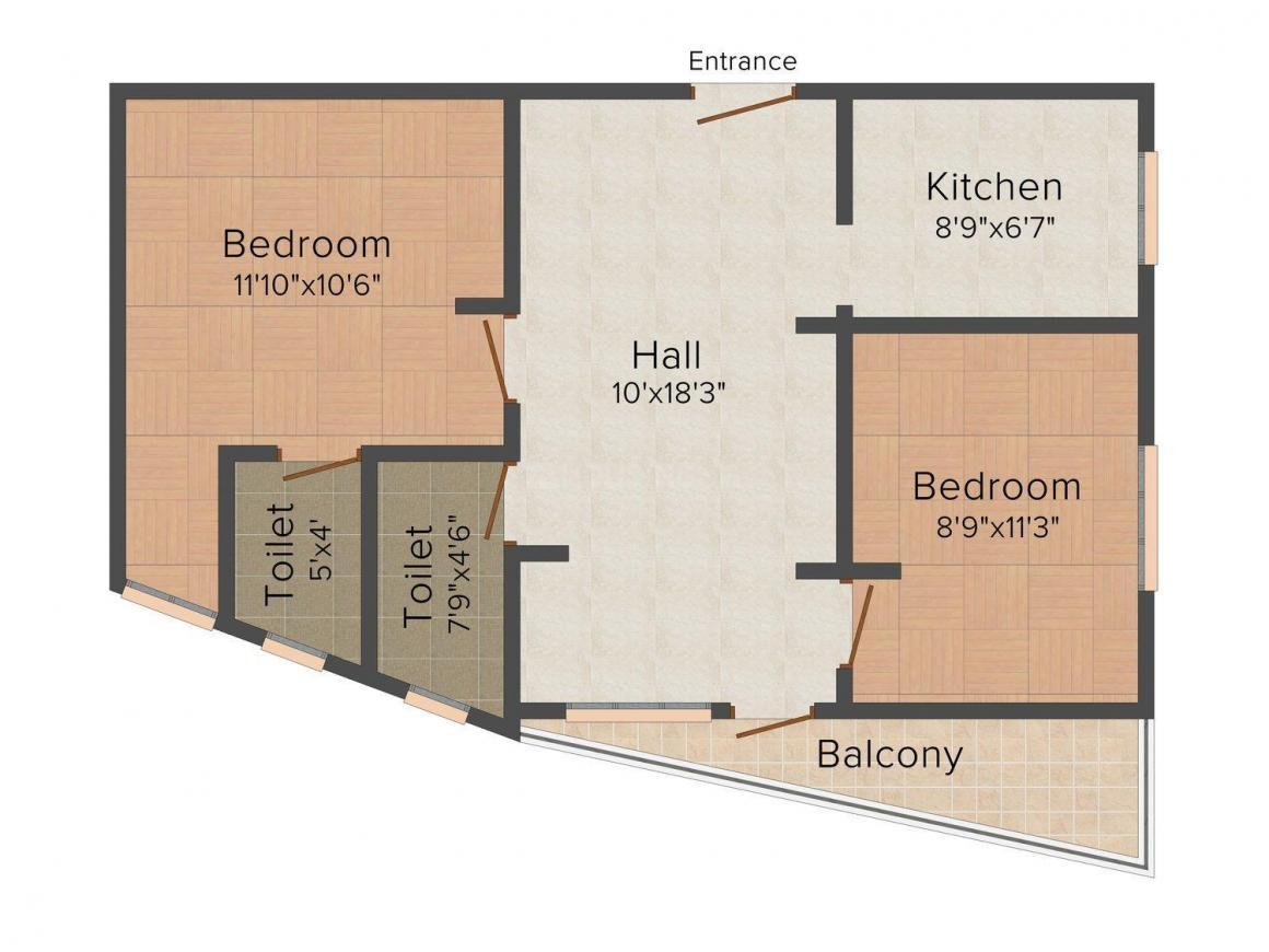 Floor Plan Image of 816.0 - 1032.0 Sq.ft 2 BHK Apartment for buy in Sri Lakshmi Constructions