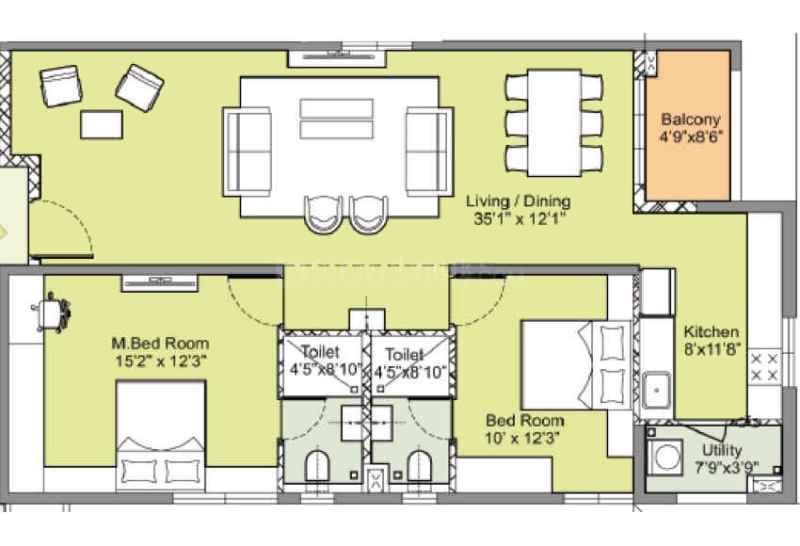 Floor Plan Image of 1208.03 - 1979.05 Sq.ft 2 BHK Apartment for buy in Incor PBEL City Tower N Ruby