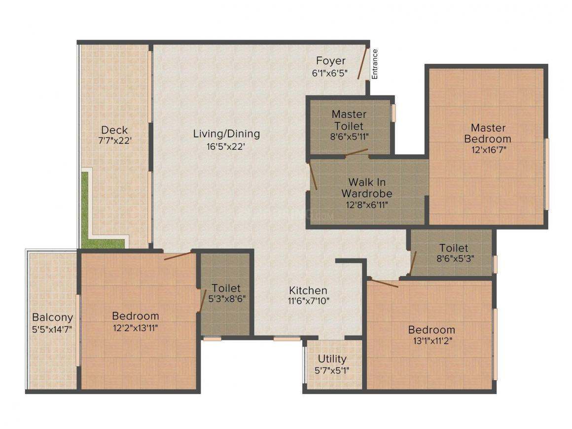 Floor Plan Image of 2023 - 2275 Sq.ft 3 BHK Apartment for buy in  Urbana Alcove