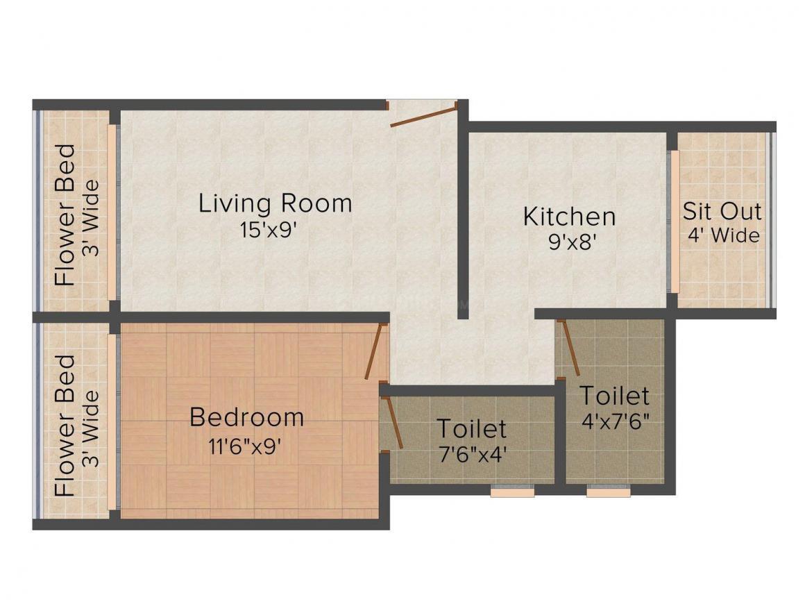 Floor Plan Image of 675.0 - 860.0 Sq.ft 1 BHK Apartment for buy in DBR Vaibhav Hills
