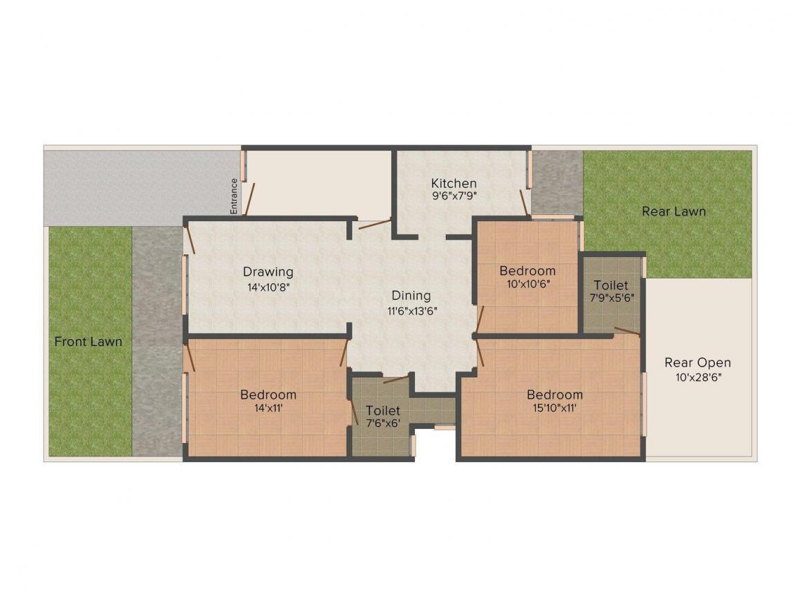 Divine Villas 1 Floor Plan: 3 BHK Unit with Built up area of 1935 sq.ft 1