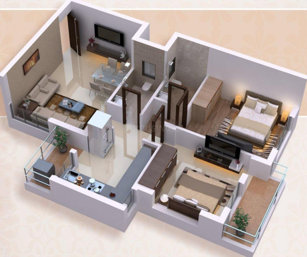 Madhukunj Residency Floor Plan: 2 BHK Unit with Built up area of 1140 sq.ft 1
