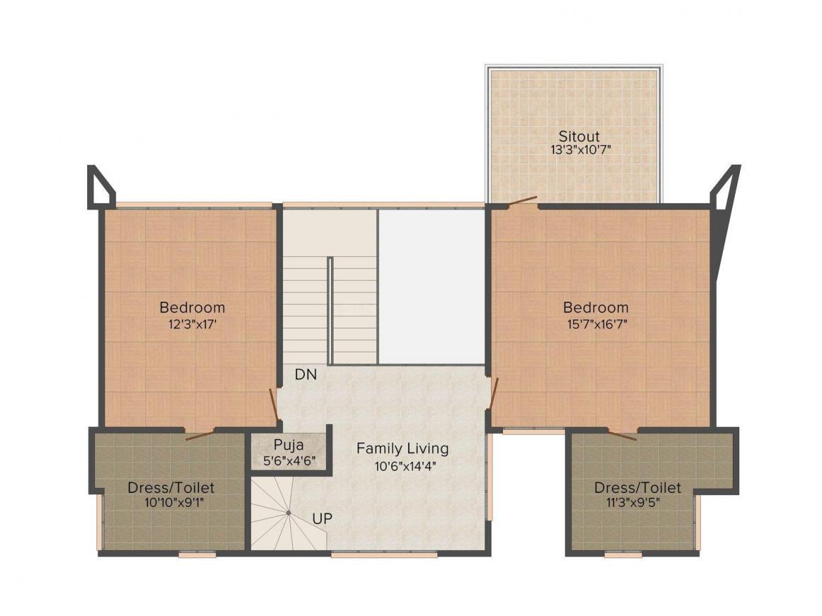 Floor Plan Image of 0 - 5200.0 Sq.ft 4 BHK Villa for buy in Squarefeet Villa Romentika