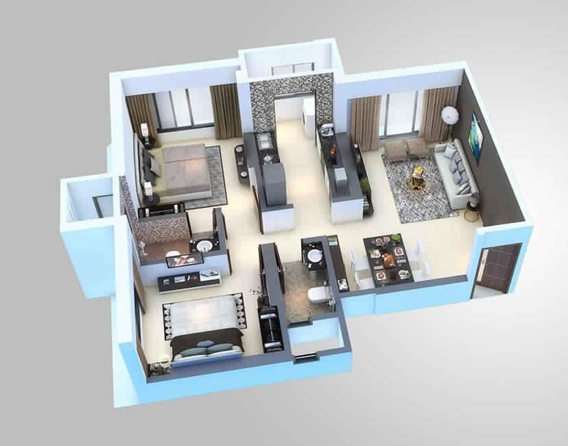 Gorai Laxmi CHSL Casa Bellisimo B Wing Floor Plan: 2 BHK Unit with Built up area of 627 sq.ft 1
