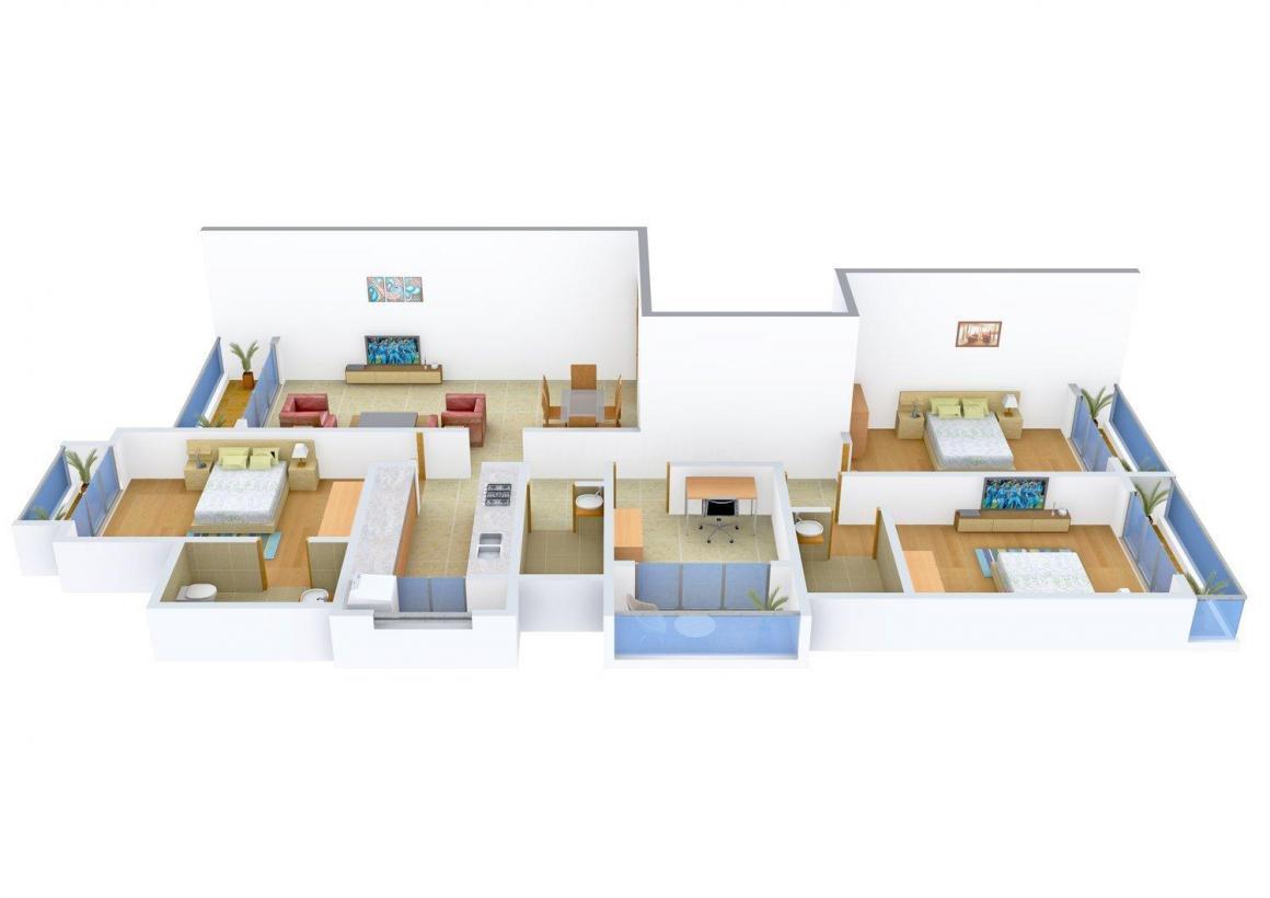 Floor Plan Image of 0 - 2400.0 Sq.ft 3 BHK Apartment for buy in Gemini Malhotra Residency