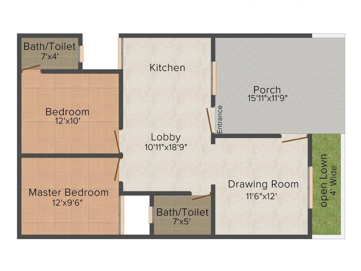 Floor Plan Image of 900 - 1100 Sq.ft 2 BHK Row House for buy in Nawab Him City Enclave
