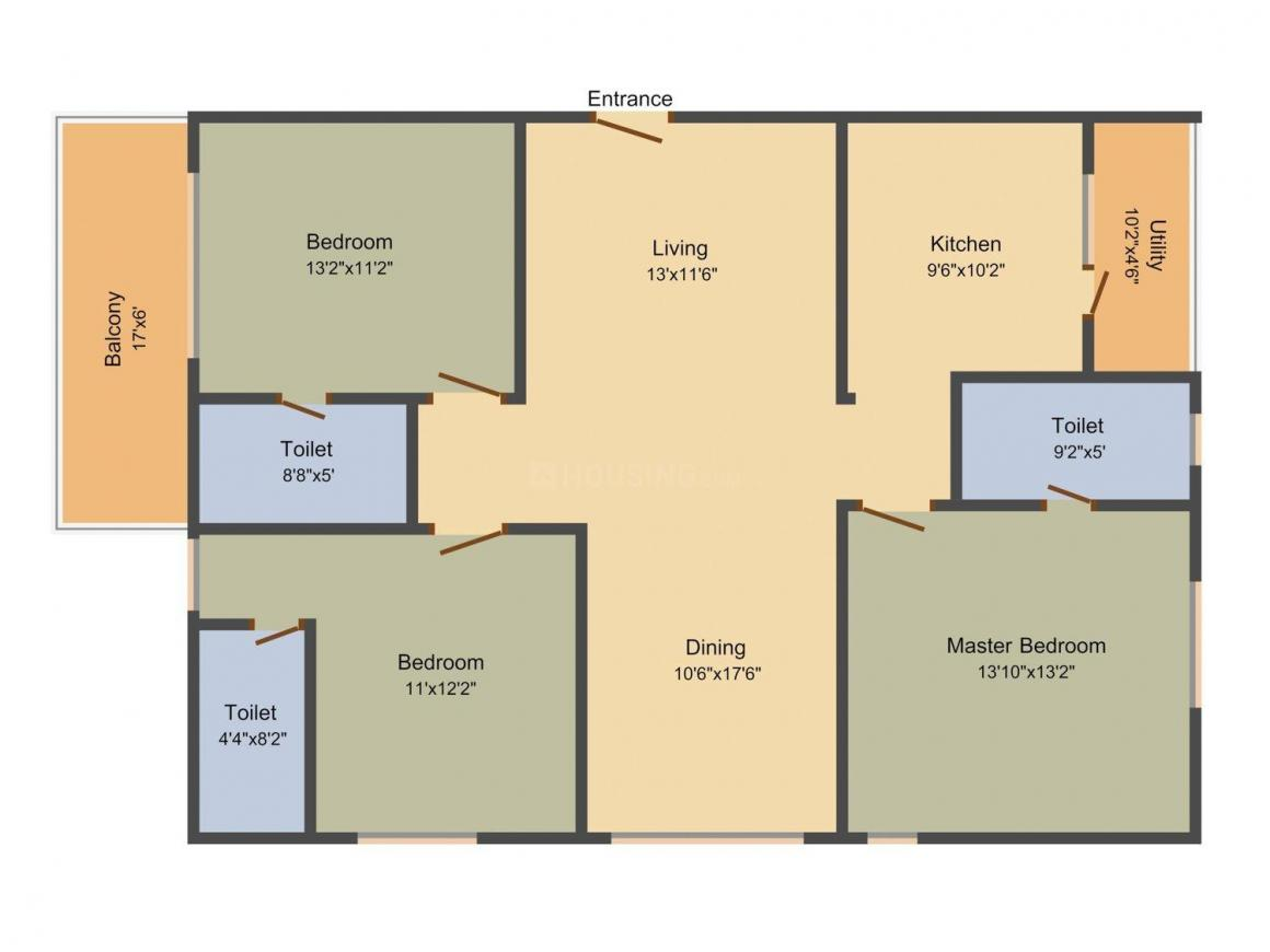 Crown Whistling Woods Floor Plan: 3 BHK Unit with Built up area of 1735 sq.ft 1