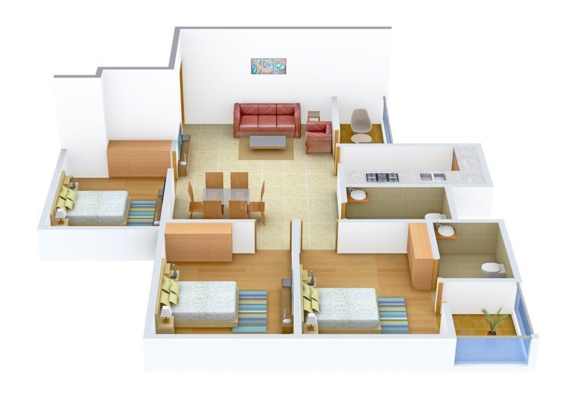 Floor Plan Image of 1375 - 1745 Sq.ft 3 BHK Apartment for buy in Vasundhara Olive Pine