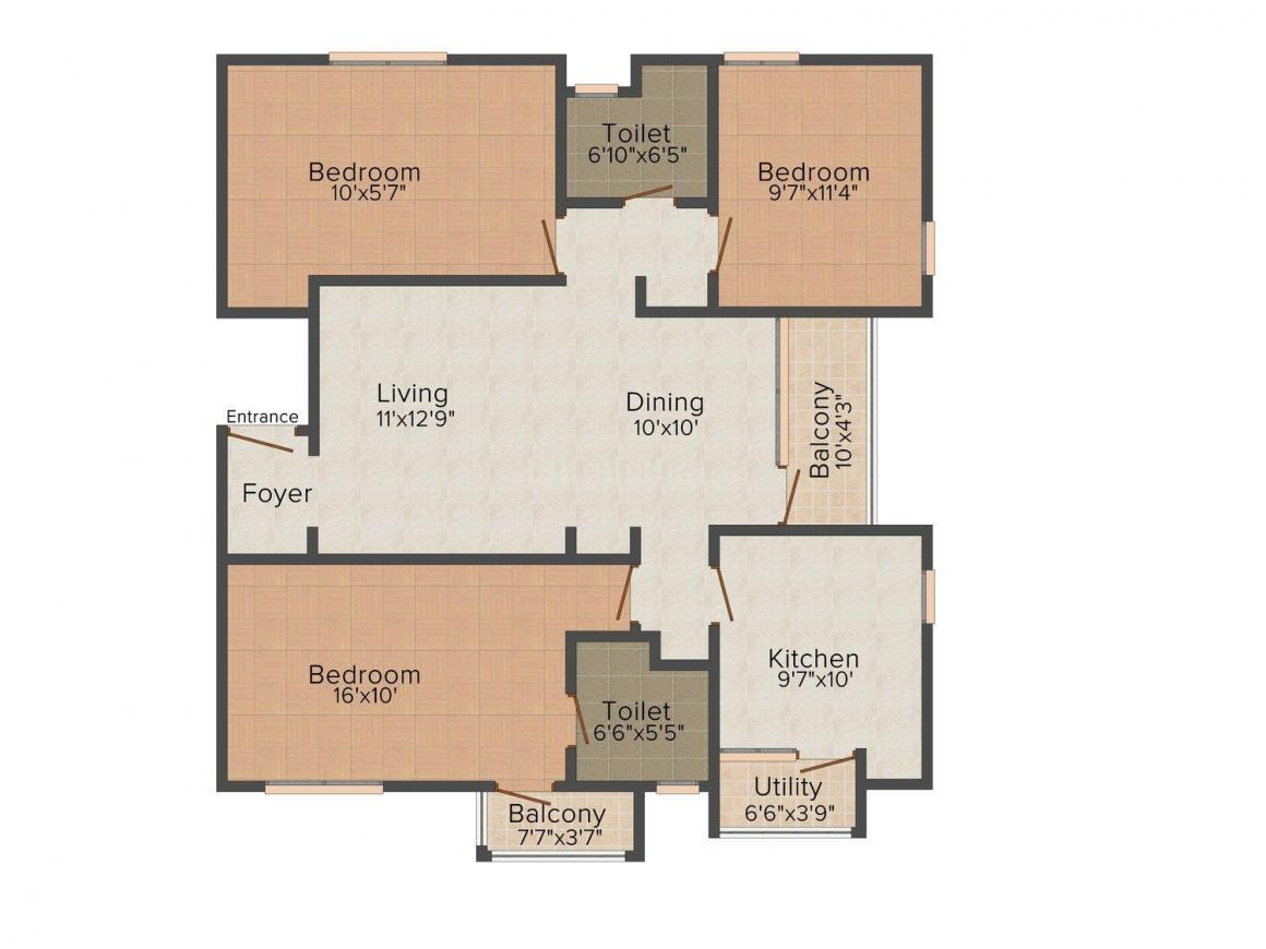 Floor Plan Image of 1428 - 1486 Sq.ft 3 BHK Apartment for buy in Vijaydeepa's KTVR Grandeur