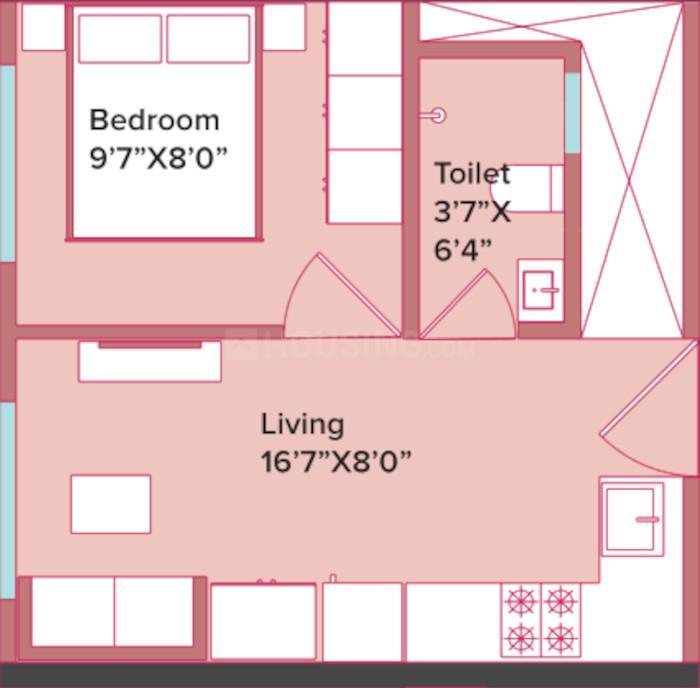 Marathon Neopark Ashoka Wing B Floor Plan: 1 BHK Unit with Built up area of 242 sq.ft 1