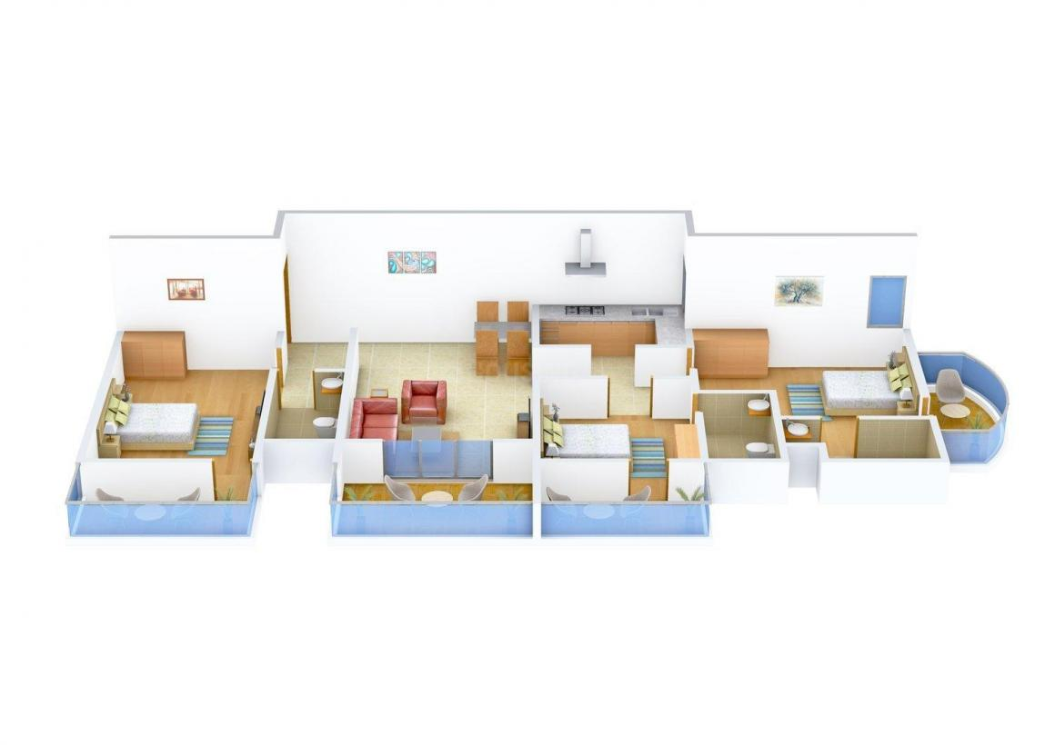 Floor Plan Image of 0 - 1523.0 Sq.ft 3 BHK Apartment for buy in Felicity Airport Residency