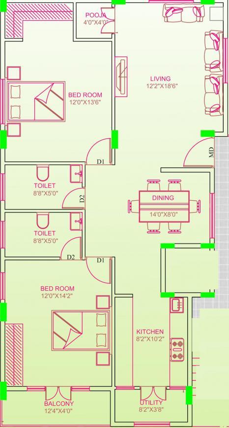Lakshmi Sai Ananda Nilayam Floor Plan: 2 BHK Unit with Built up area of 1360 sq.ft 1