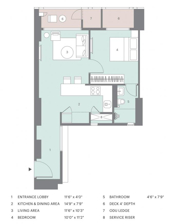 New Cuffe Parade Lodha Altia Floor Plan: 1 BHK Unit with Built up area of 513 sq.ft 1