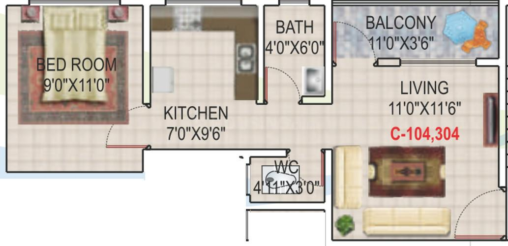 Geet Govind Muktai Aangan Phase VIII Floor Plan: 1 BHK Unit with Built up area of 396 sq.ft 1