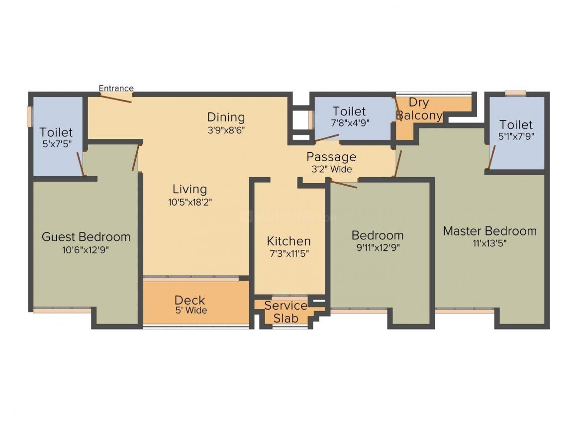 Floor Plan Image of 1060 - 1715 Sq.ft 2 BHK Apartment for buy in Rustomjee Azziano Iona