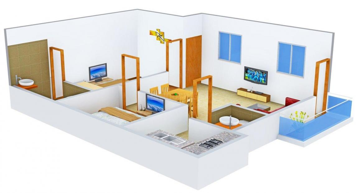 Floor Plan Image of 403.0 - 940.0 Sq.ft 2 BHK Apartment for buy in Annai Smart Homes III