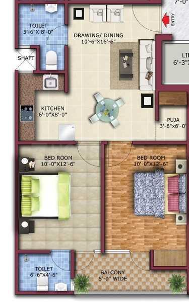 Ambesten Vihaan Heritage Floor Plan: 2 BHK Unit with Built up area of 925 sq.ft 1