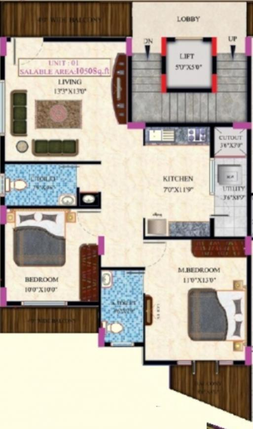 Supreme Vbs Homes Floor Plan: 2 BHK Unit with Built up area of 1050 sq.ft 1