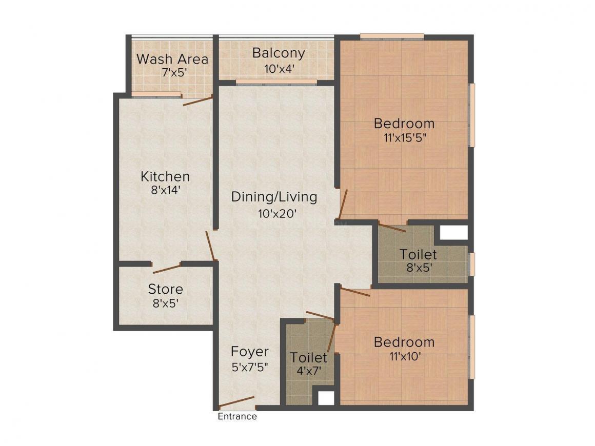 Floor Plan Image of 1213 - 1676 Sq.ft 2 BHK Apartment for buy in Landmark Shalimar Heights