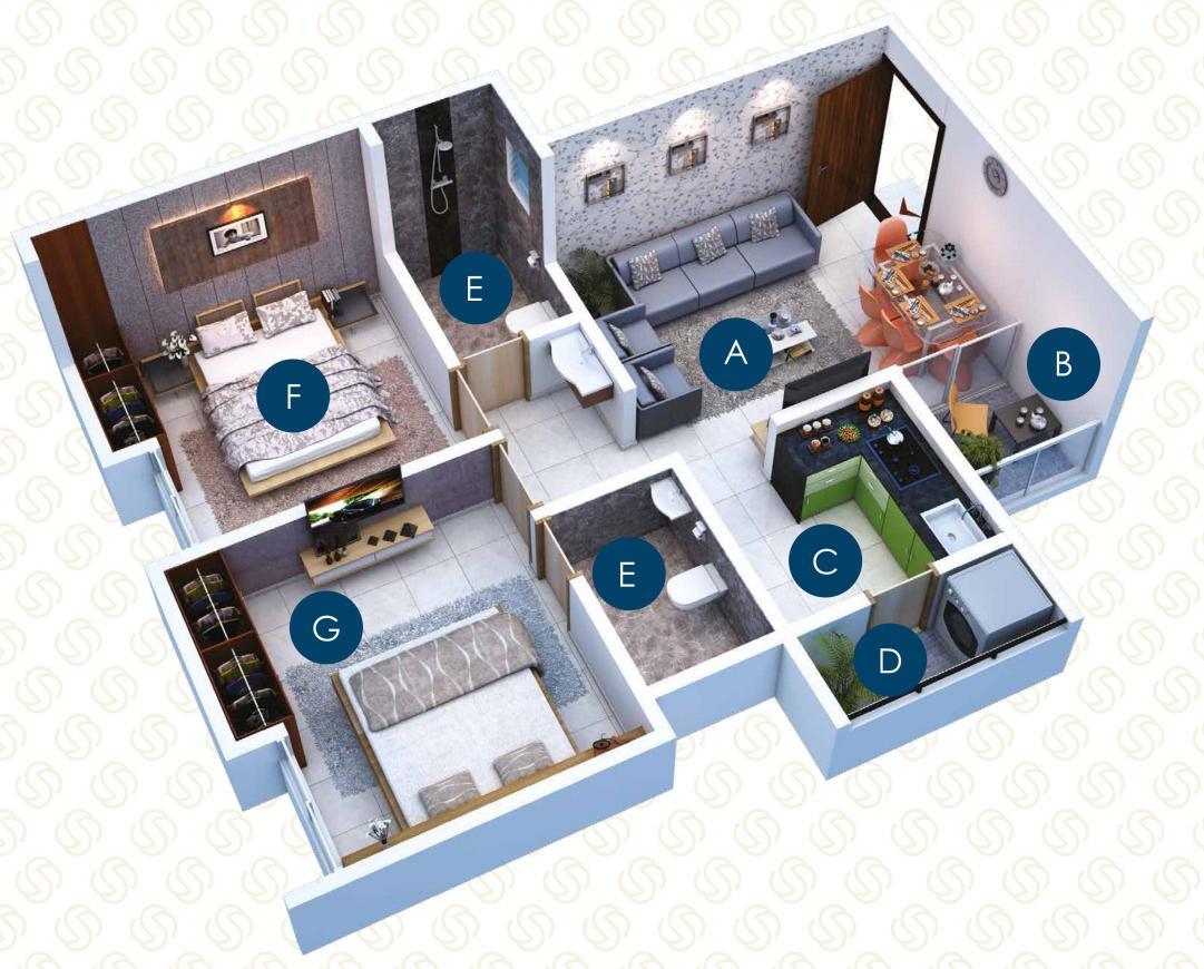 Sankalp Shanti Samarth Floor Plan: 2 BHK Unit with Built up area of 695 sq.ft 1