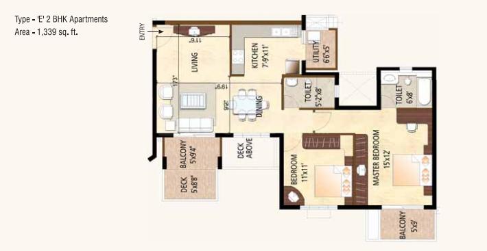 Puravankara Purva Highlands Floor Plan: 2 BHK Unit with Built up area of 1339 sq.ft 1