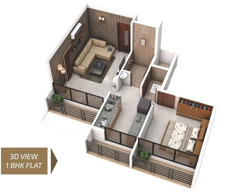 Pramukh Narayan Floor Plan: 1 BHK Unit with Built up area of 400 sq.ft 1