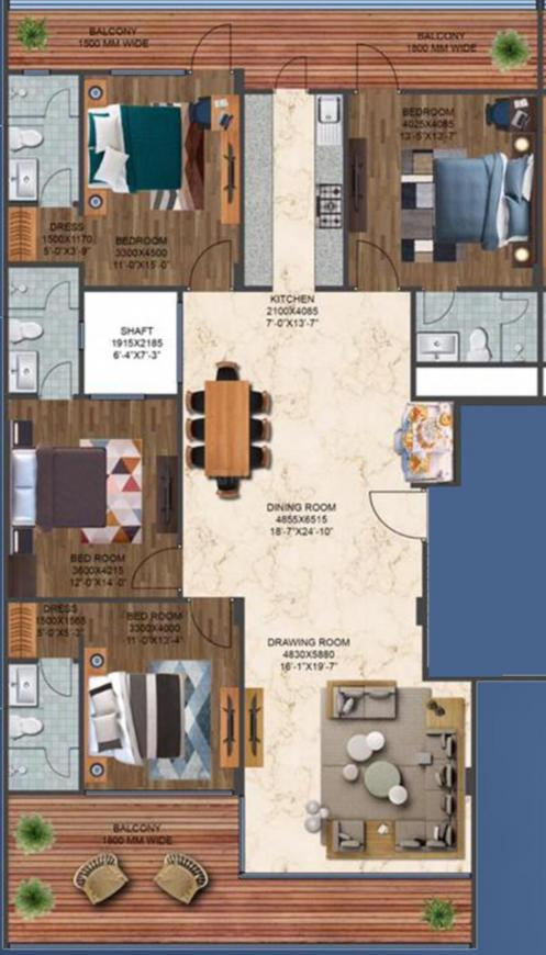 Paramount Cresent Floors Floor Plan: 4 BHK Unit with Built up area of 2250 sq.ft 1