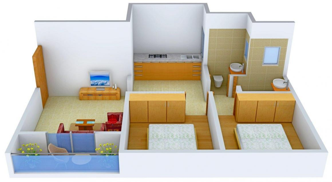 Roongta Group Roongta Shree Astha Floor Plan: 2 BHK Unit with Built up area of 710 sq.ft 2