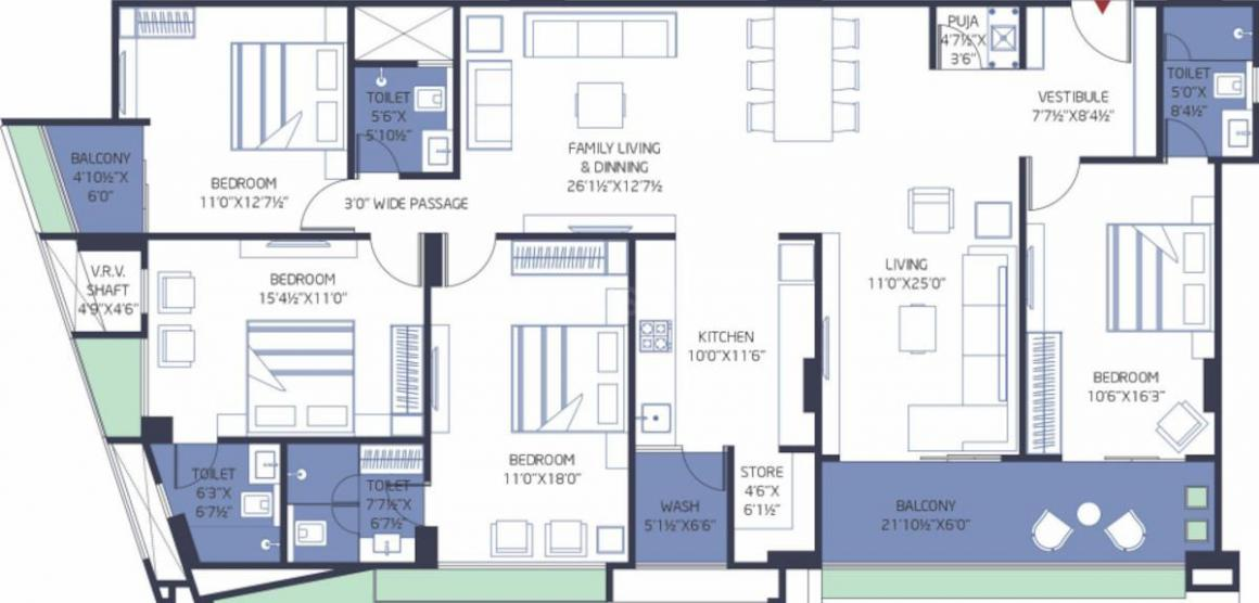 Vertis Vertis One Floor Plan: 4 BHK Unit with Built up area of 1723 sq.ft 1