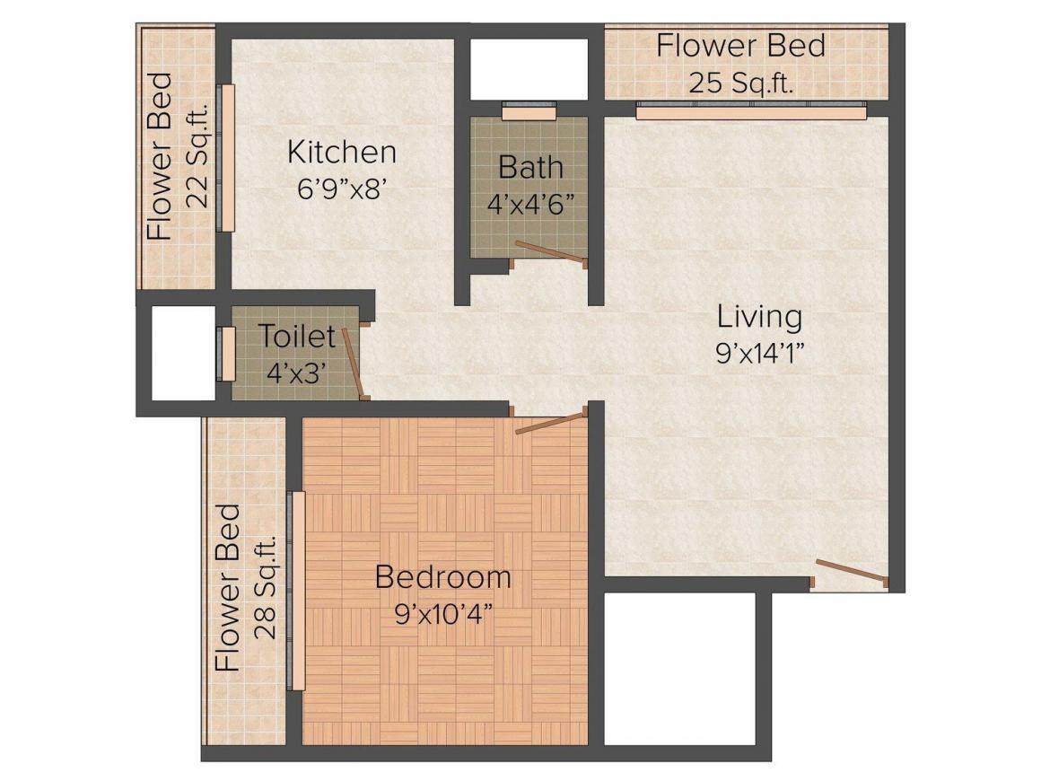Floor Plan Image of 560 - 590 Sq.ft 1 BHK Apartment for buy in Vankvanis Nivas