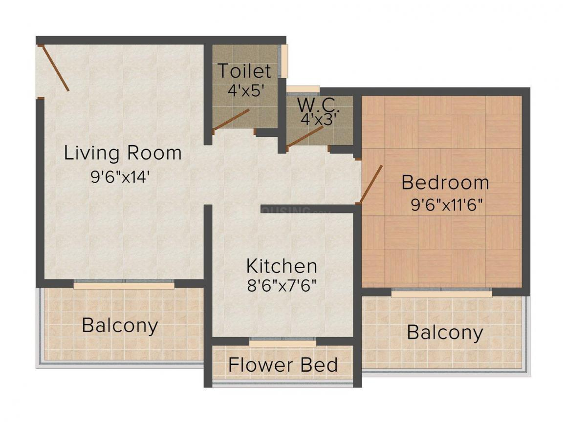 Floor Plan Image of 695.0 - 1650.0 Sq.ft 1 BHK Apartment for buy in Mohan Palms