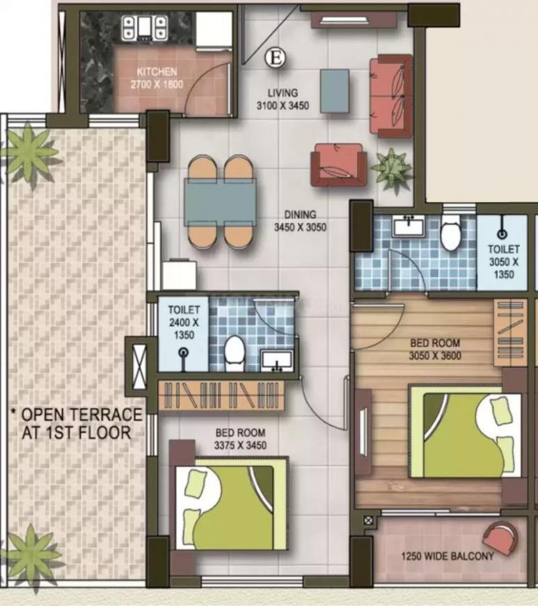 Deewakar Royal Heights Floor Plan: 2 BHK Unit with Built up area of 975 sq.ft 1
