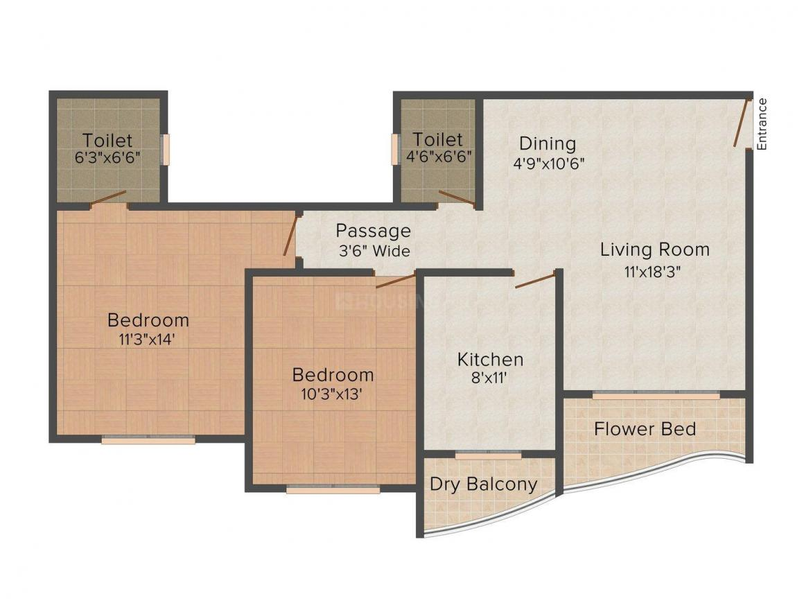 Floor Plan Image of 1140 - 2555 Sq.ft 2 BHK Apartment for buy in HDIL Metropolis