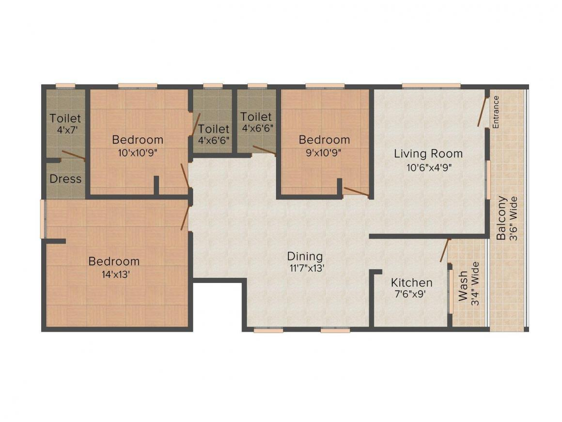 S.B. Padmavathi Residency Floor Plan: 3 BHK Unit with Built up area of 1505 sq.ft 1