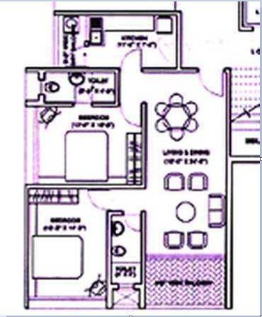 Ramesh Hermes Heritage Phase 1 Floor Plan: 1 BHK Unit with Built up area of 600 sq.ft 1