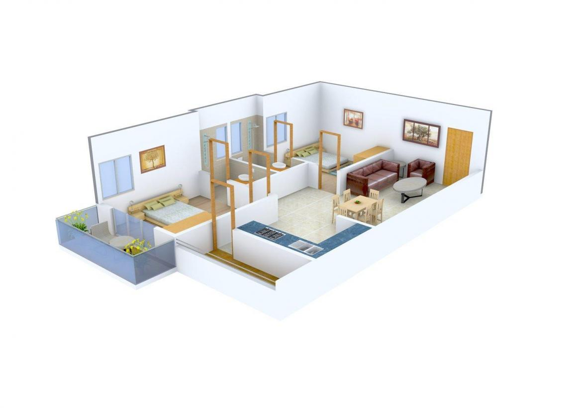 Midtown Rhythm Floor Plan: 2 BHK Unit with Built up area of 976 sq.ft 1