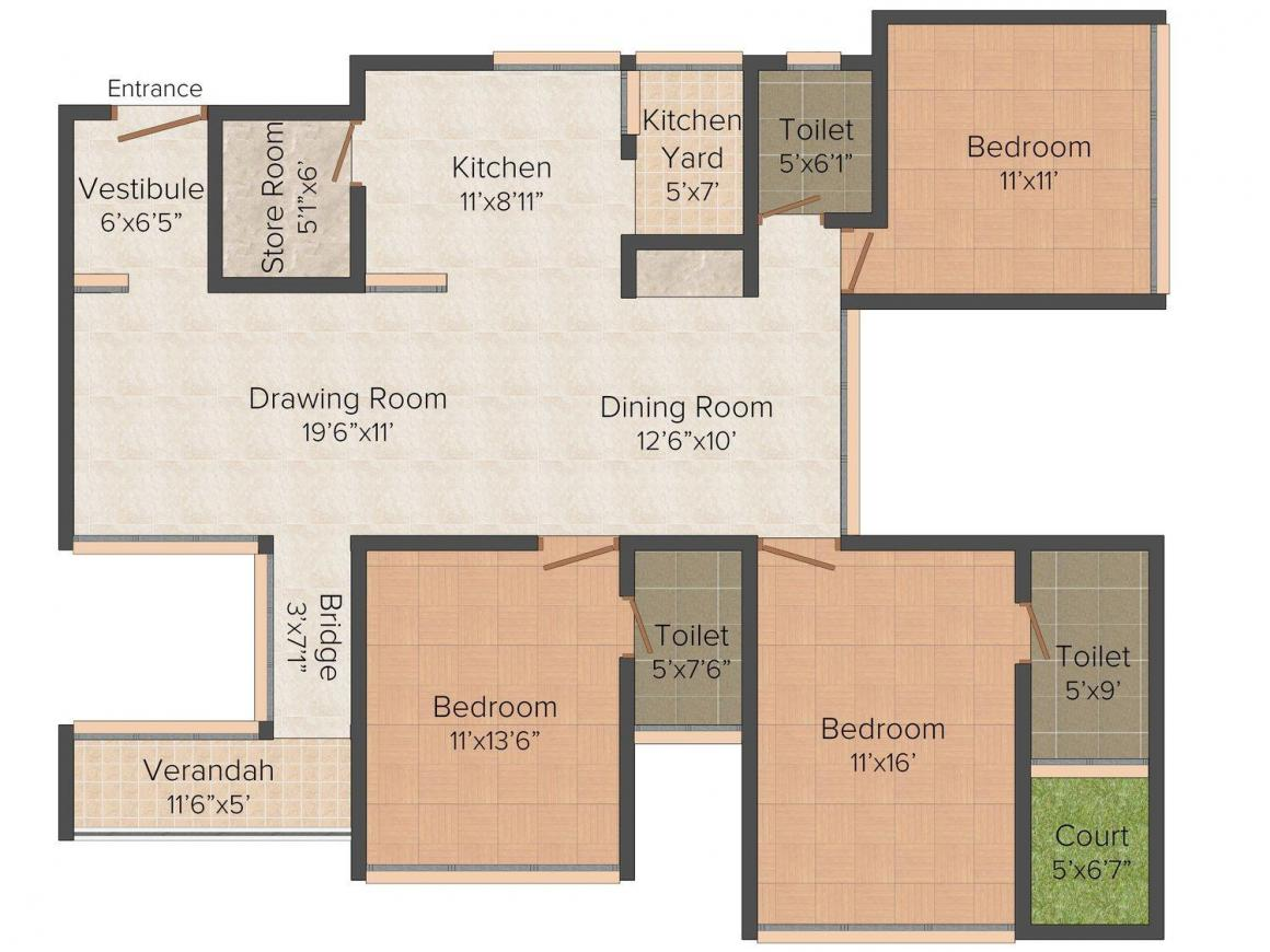 Gala Swing Floor Plan: 3 BHK Unit with Built up area of 1860 sq.ft 1